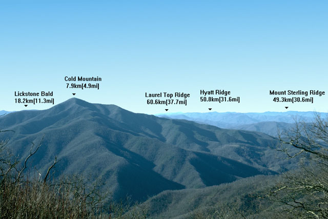 Breakdown of the Significant Features of Shining Rock Wilderness. Lickstone Bald, Cold Mountain, Laurel Top Ridgem, Hyatt Ridge and Mount Sterling Ridge are depicted. Click to see larger Significant Features.